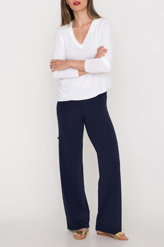 tummansiniset neulehousut navy blue knit pants